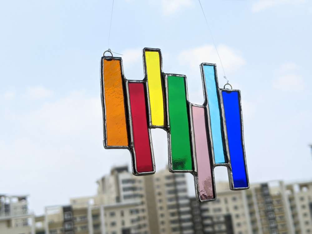 Stained glass rainbow hanging