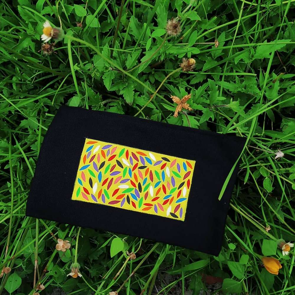 Hand-painted Leaf pattern art on pouch