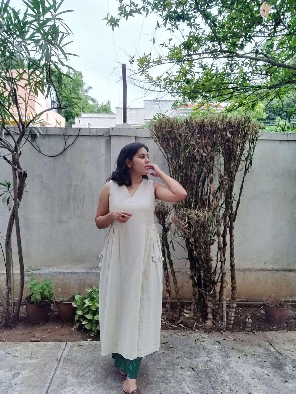 Panelled Drawstring Cotton Kurta/Dress