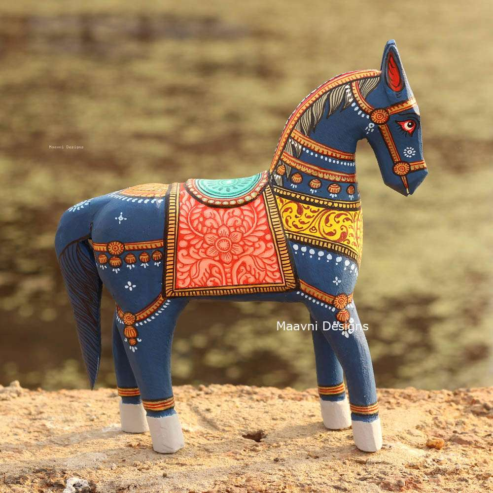 Dark Blue Red Yellow Horse Pattachitra Painted 10 inches