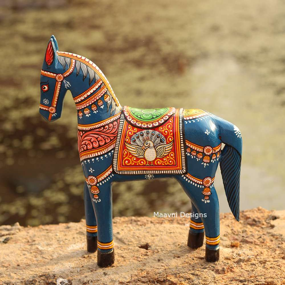 Dark Blue Horse Pattachitra Painted 10 inches