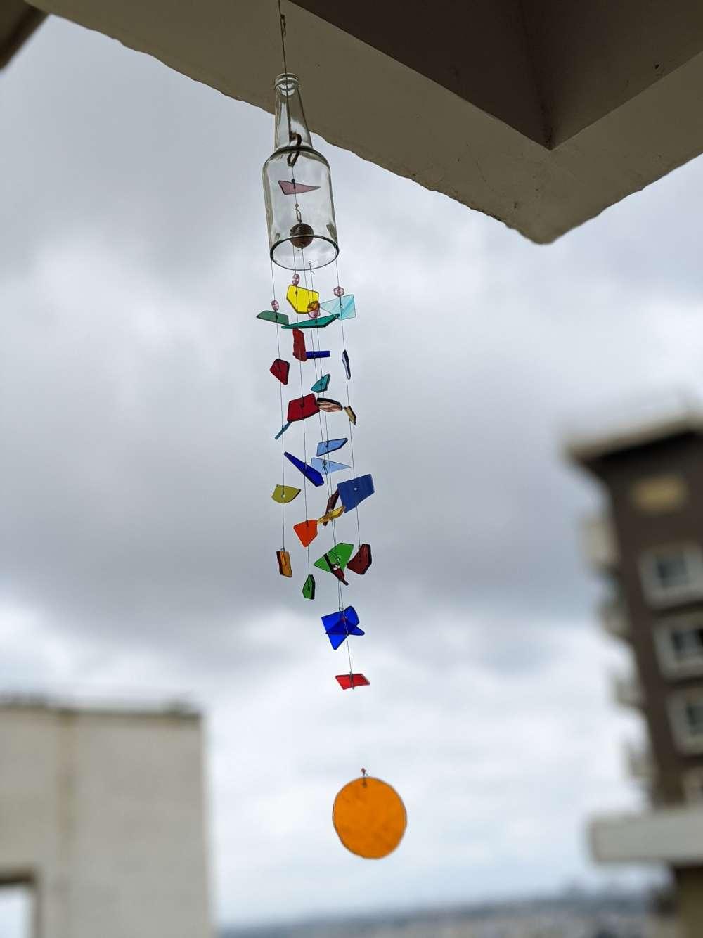 Happy rainbow stained glass x bottle windchime