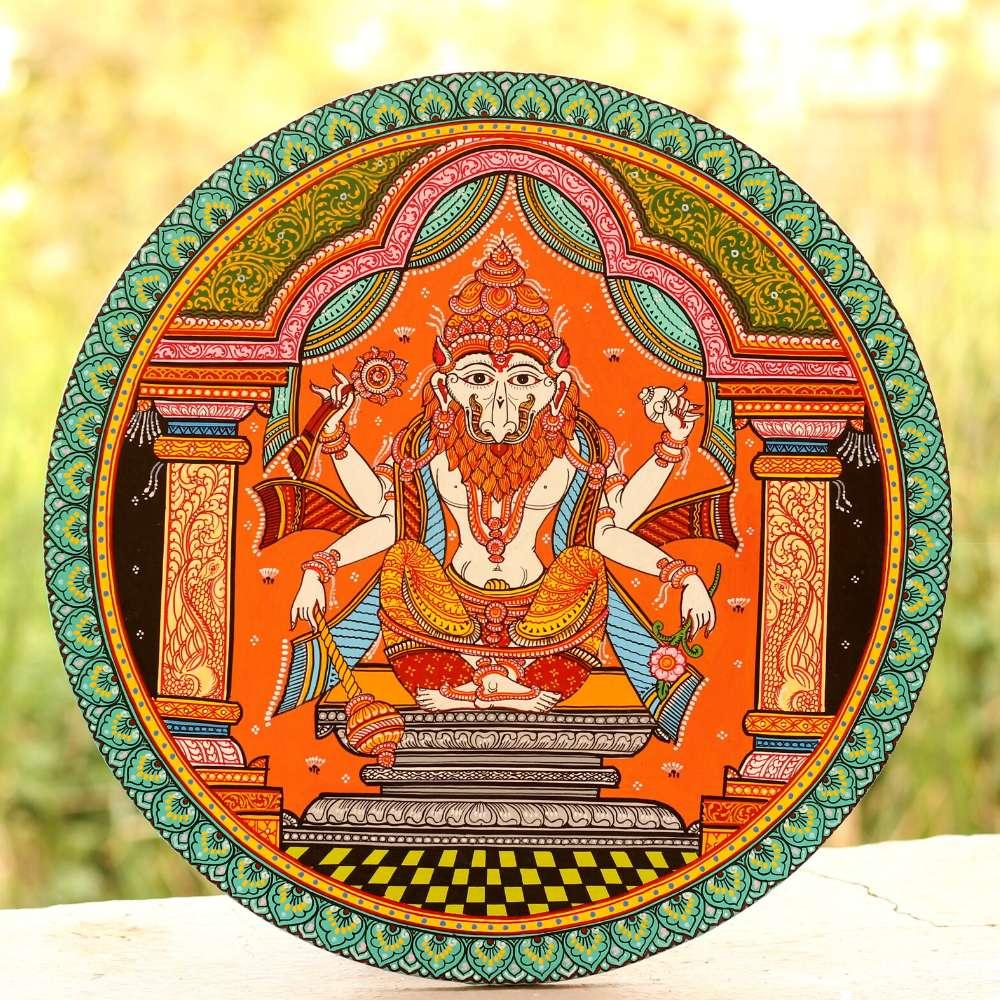 Lord Narsimha Pattachitra Wallplate