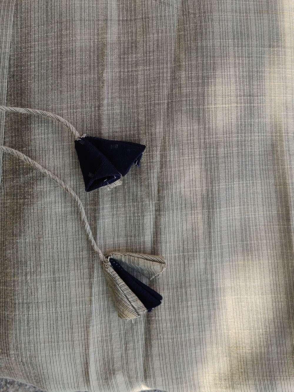 Beige and Blue Soft Cotton Silk drawstring dress