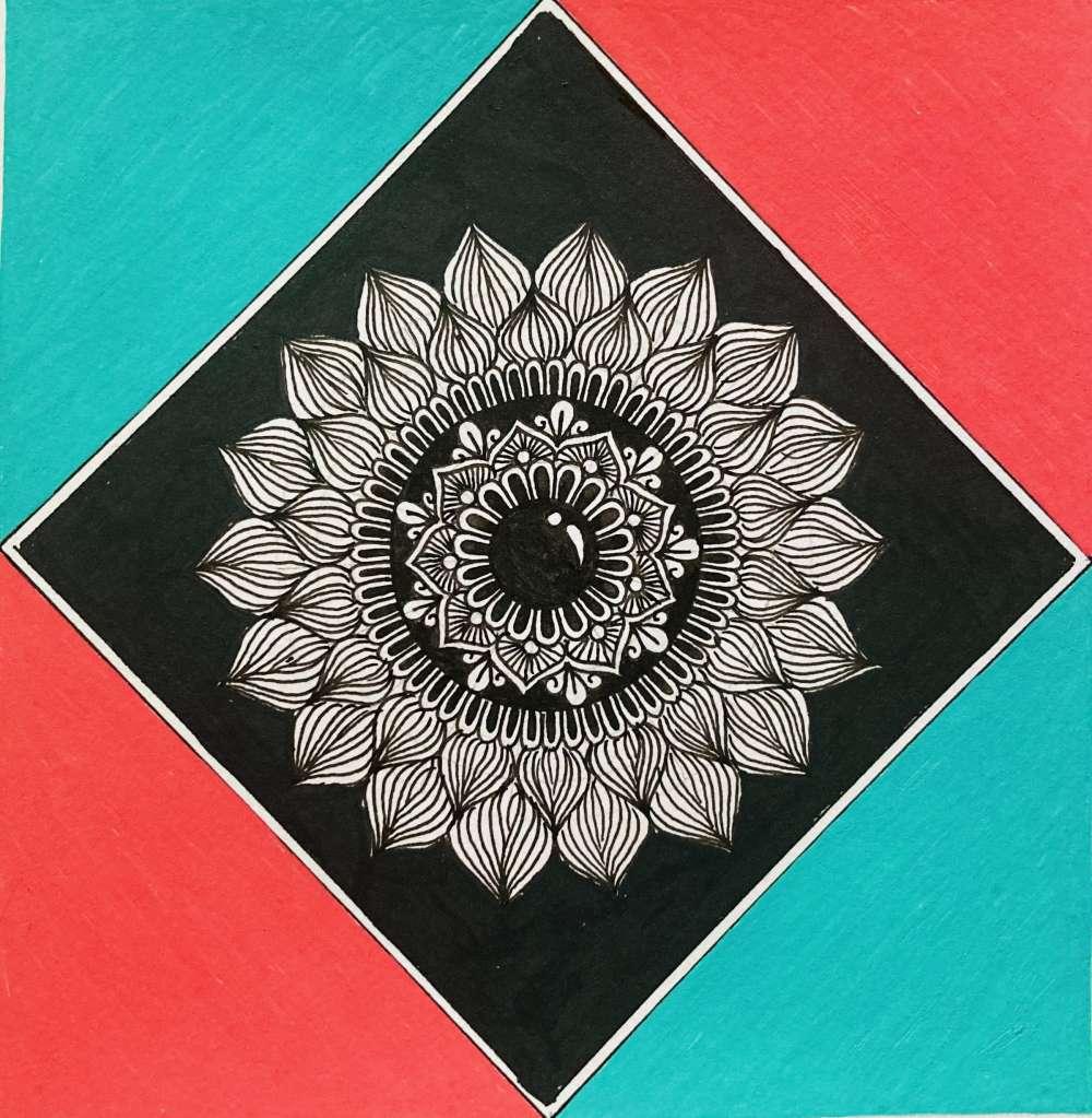 Red & Teal mandala art print