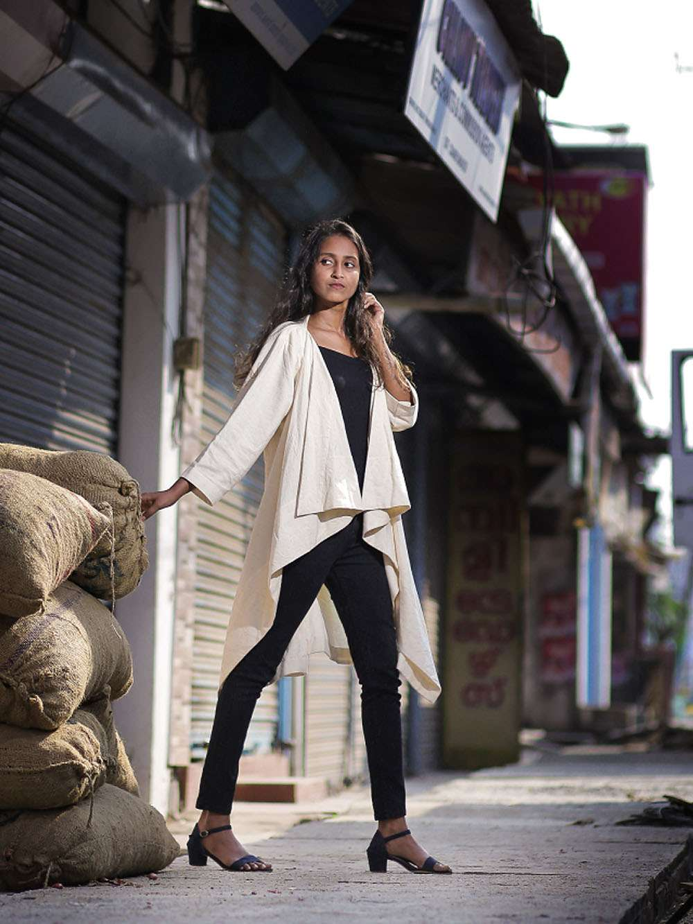 Handloom Cotton Waterfall jacket