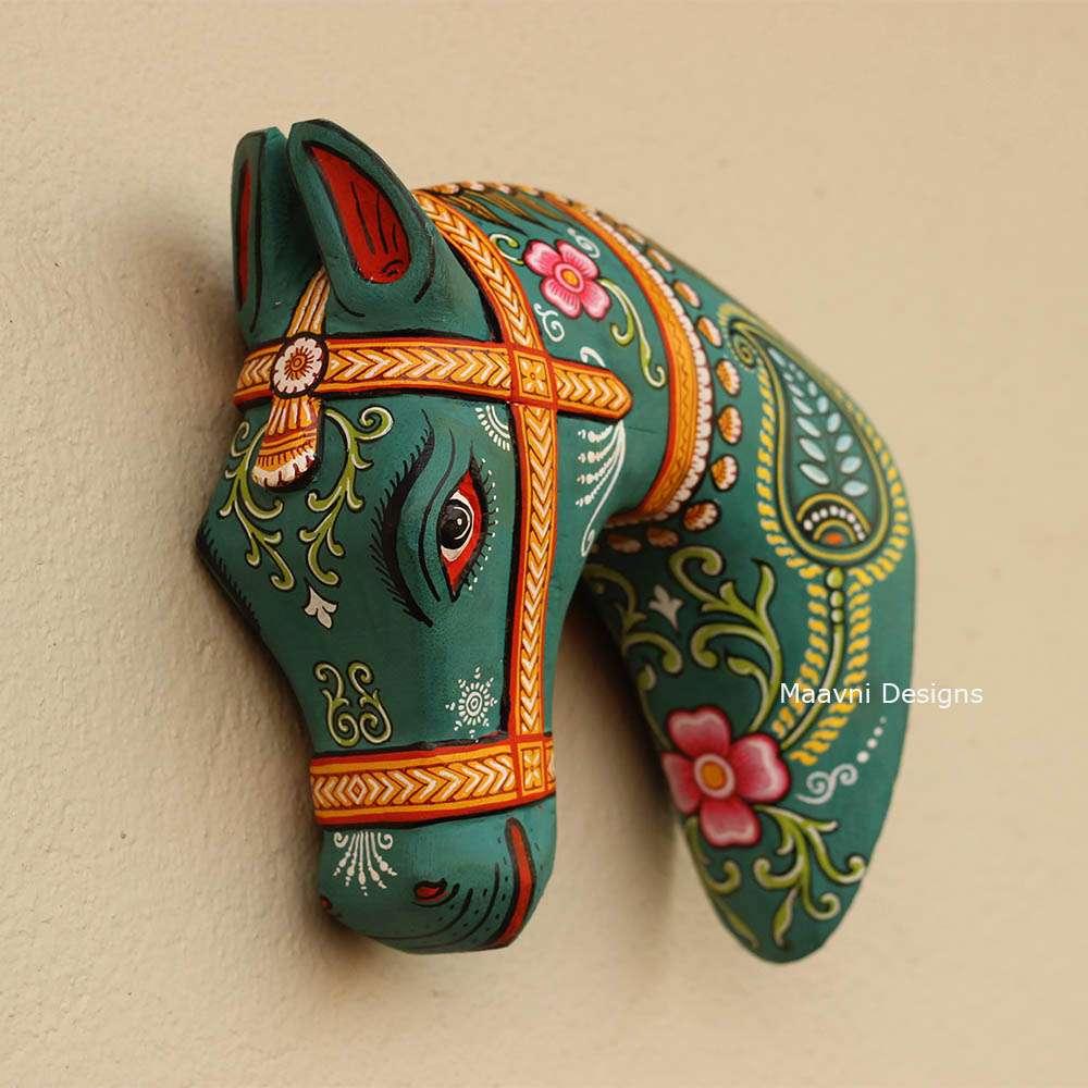 Gray Green Pattachitra Handpainted Wood Horse Head