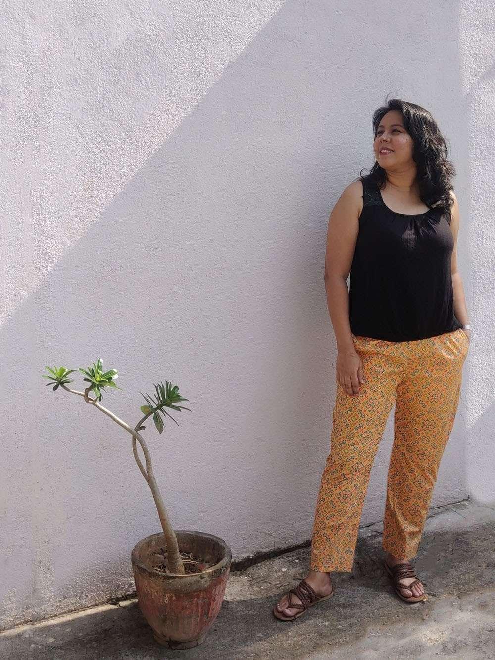 Sandstone orange - screen printed cotton pants