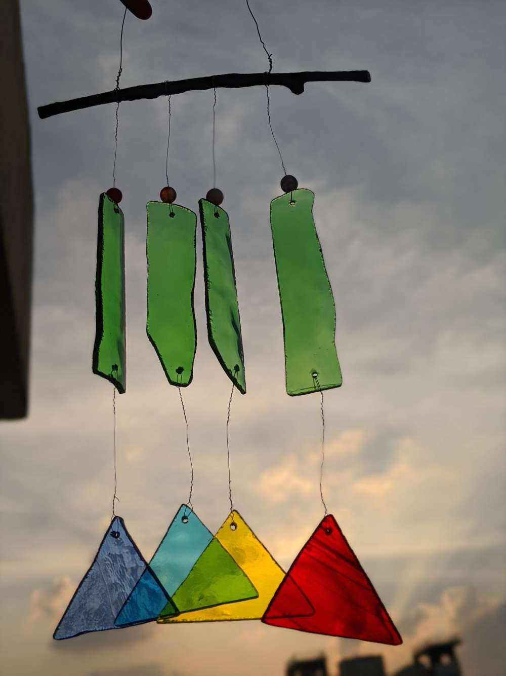 Upcycled prism stained glass suncatcher hanging