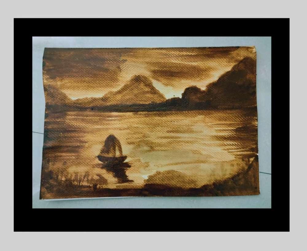 Scenery coffee painting