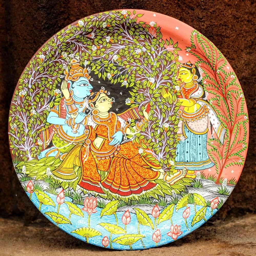 Radha Krishna In Jungle Wallplate
