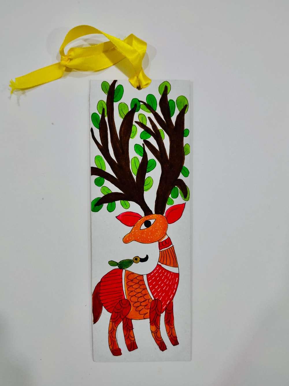 Deer gond art bookmark