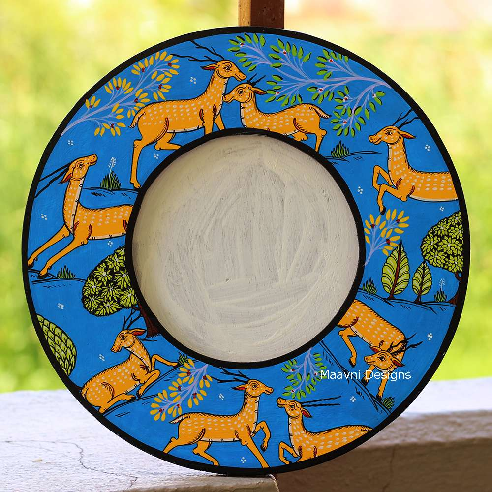 Blue Deer Mirror Frame 12 Inches