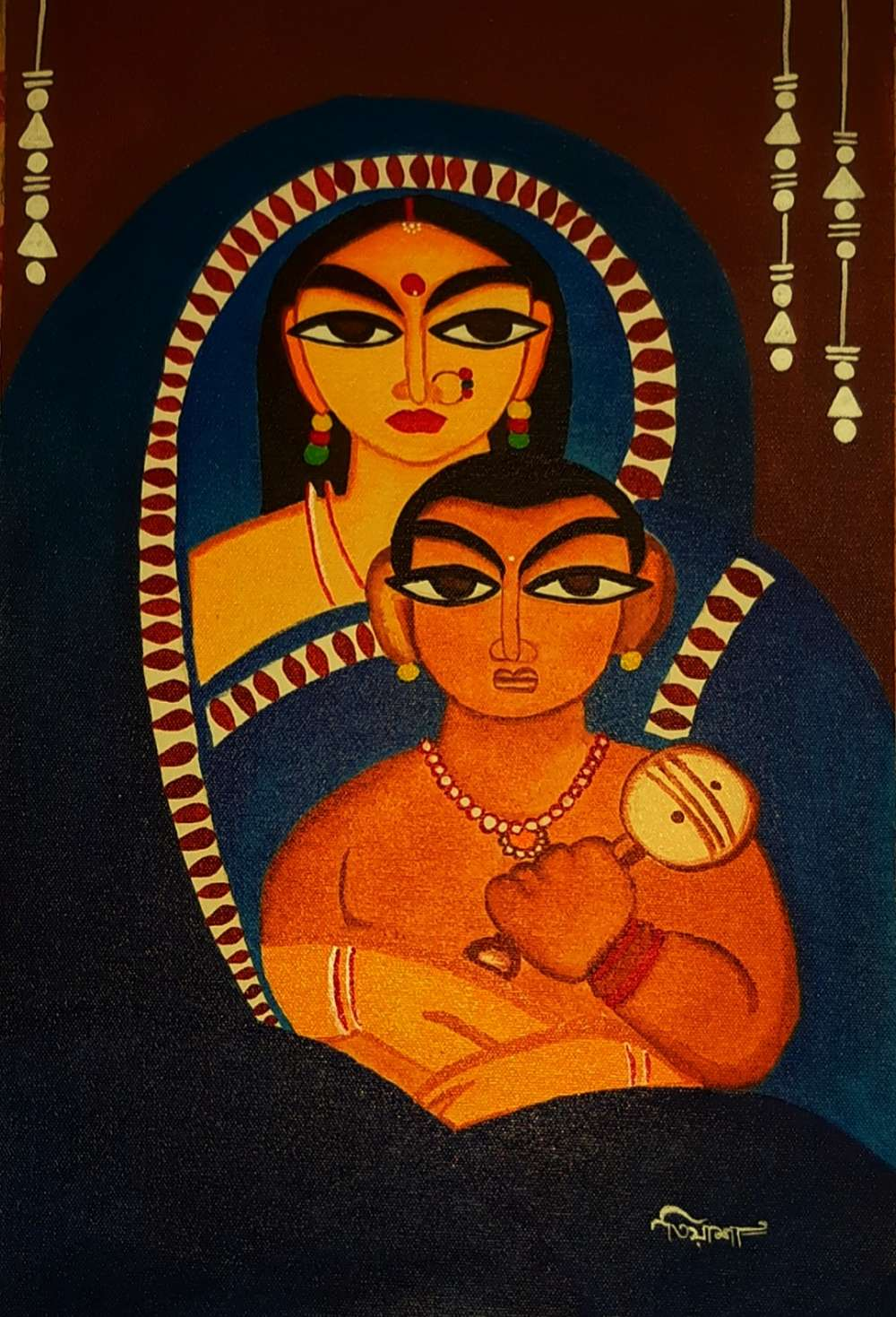 Mother With Child (Jamini Roy Art)