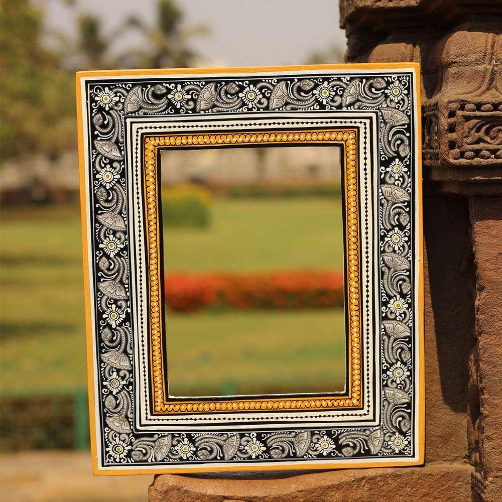 Handpainted Pattachitra Mirror Frame Black Gold