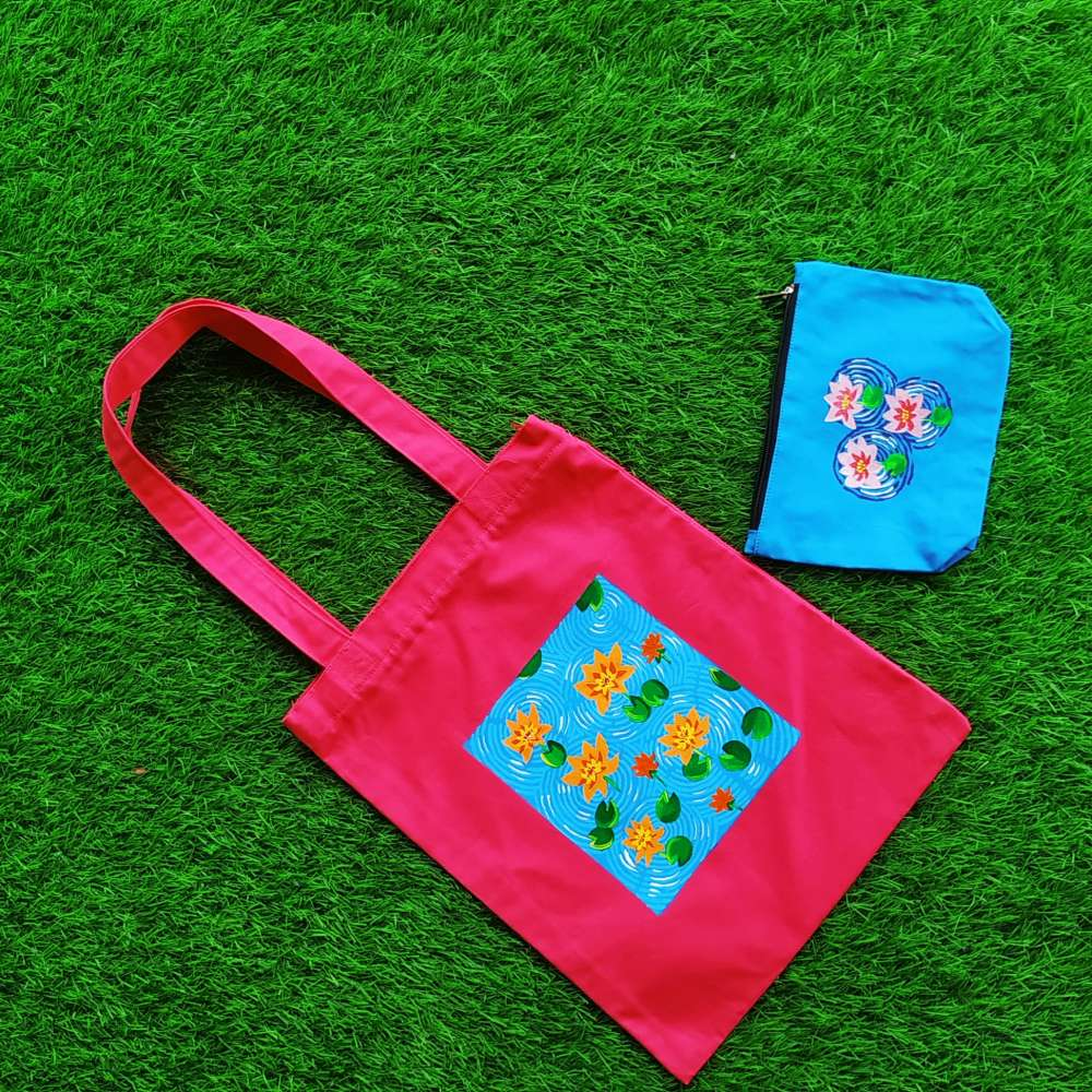 Hand painted lotus flower pattern art on pouch and totebag