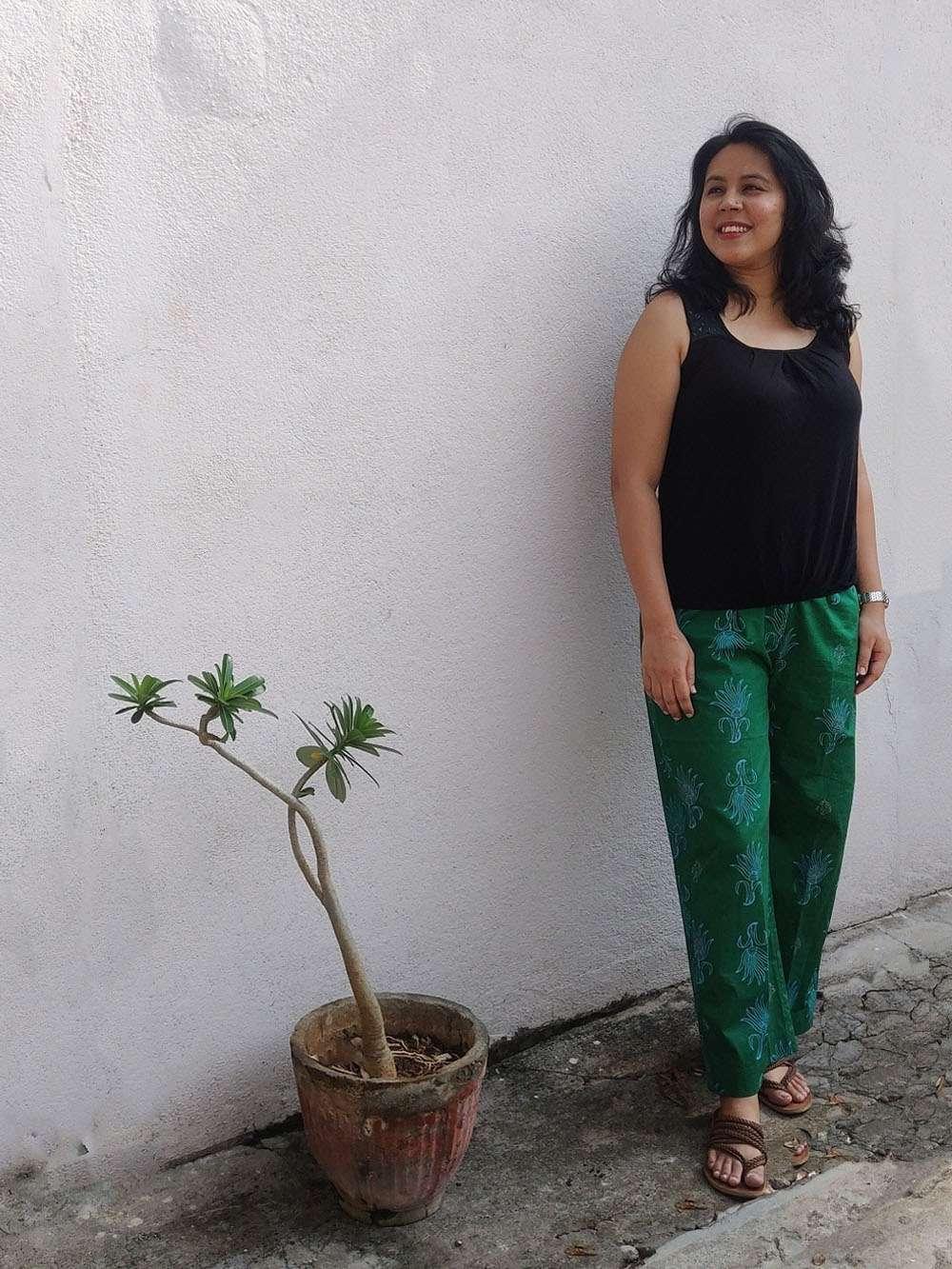 Fern green hand block printed cotton pants