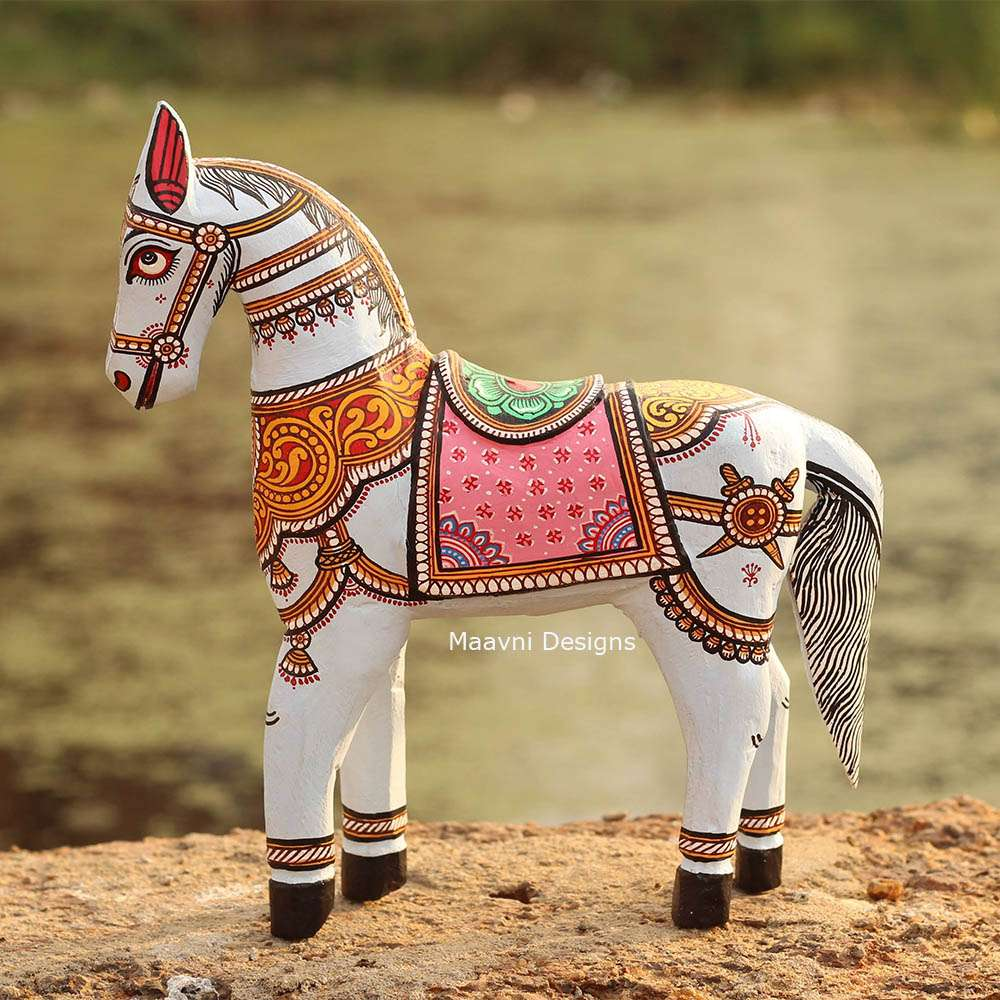 Light Blue Horse Pattachitra Painted 10 inches