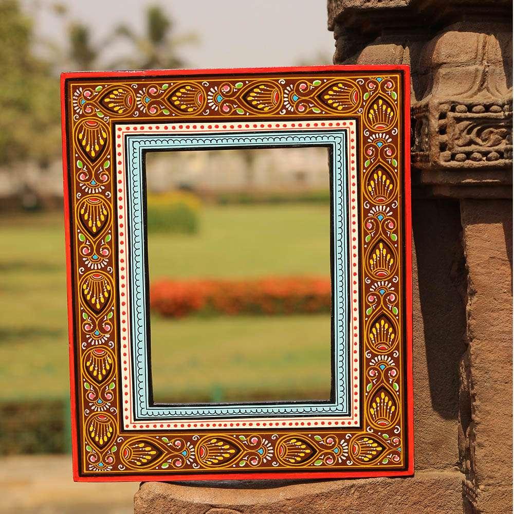 Handpainted Pattachitra Mirror Frame Brown