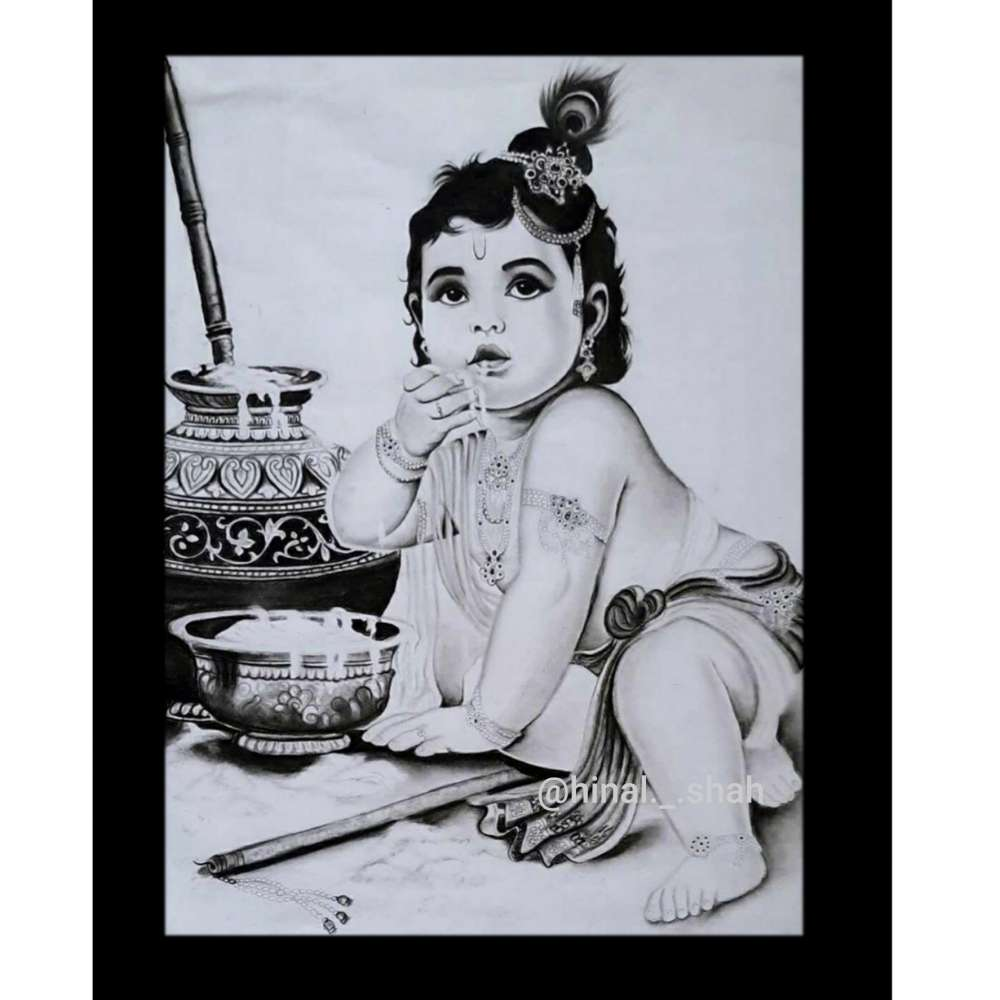 Krishna Charcoal Painting