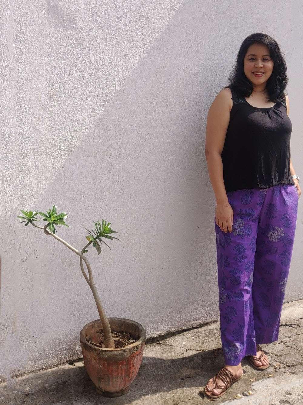Iris Purple hand block printed cotton pants