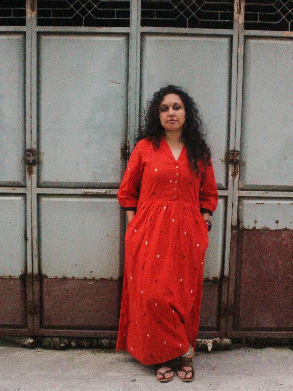 Handloom Cotton Paisley motif maxi dress