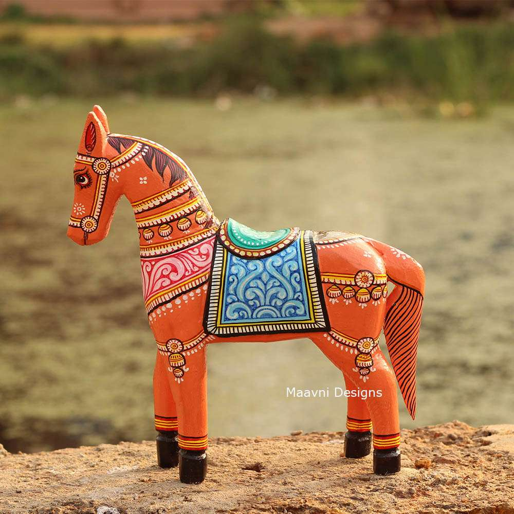 Orange Horse Pattachitra Painted 10 inches