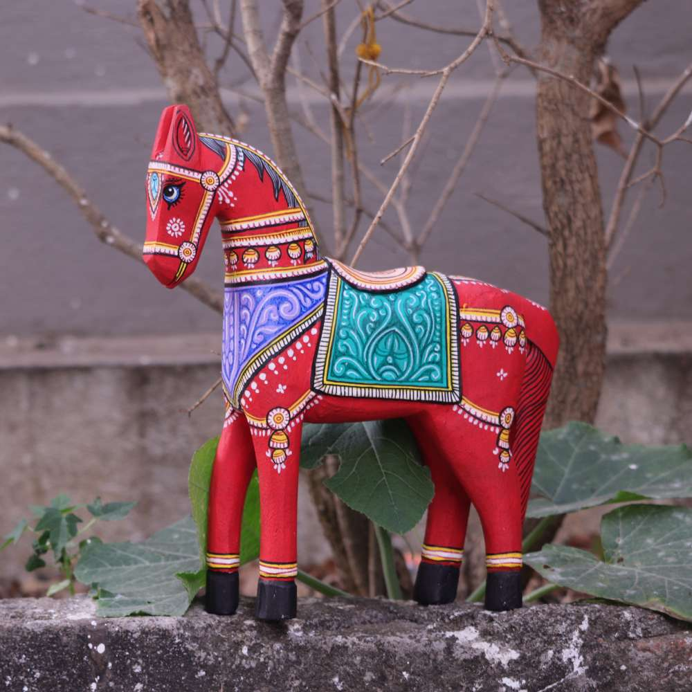 Red Wooden Horses 10 inches Pattachitra handpainted