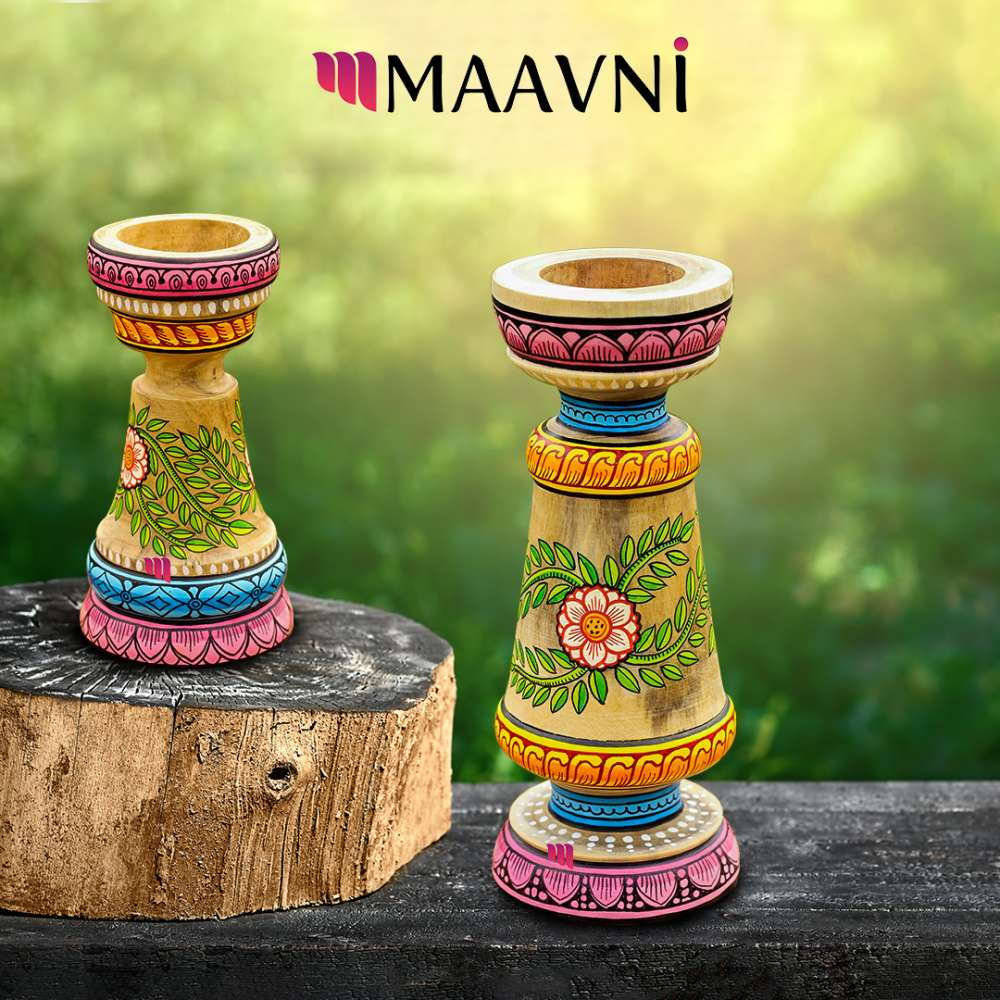 Floral Candle Stand Pair
