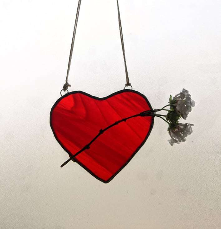 Stained glass heart hanging