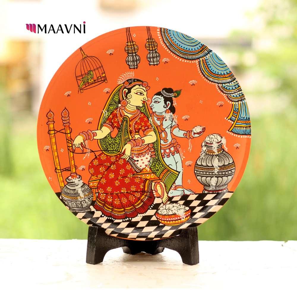 Ma Yashoda Baby Krishna Wallplate Orange Small  9 Inches