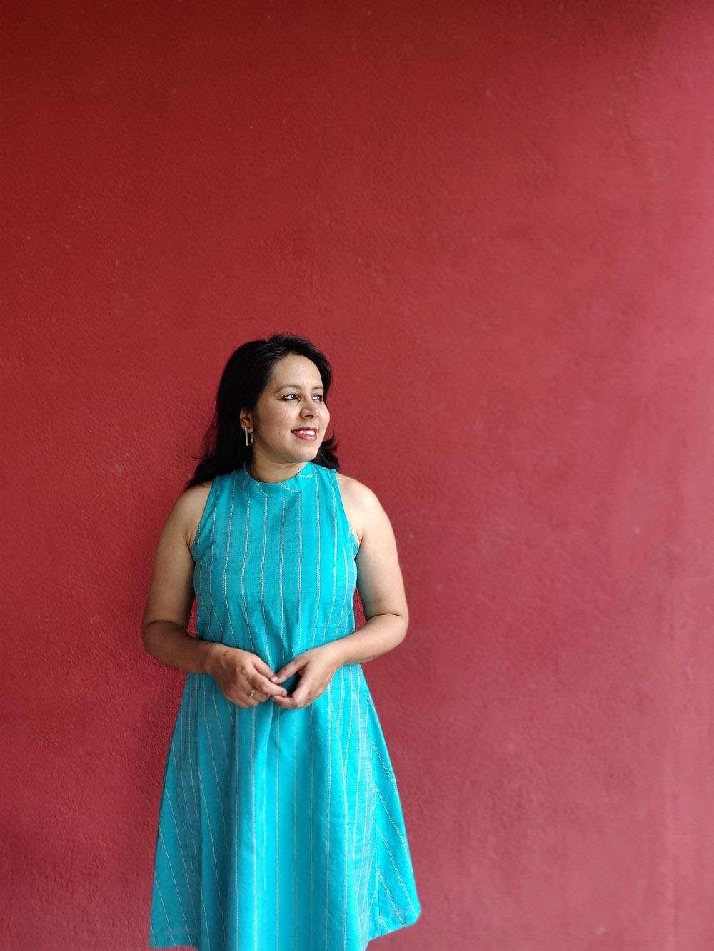 Aqua Blue Cotton Silk Dress