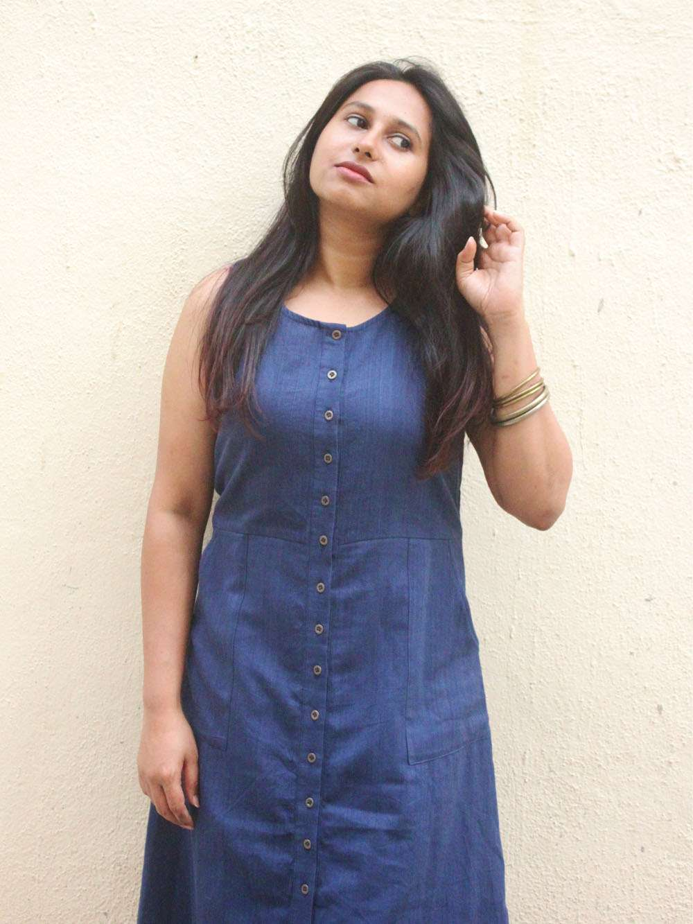 Handloom Denim button down maxi dress
