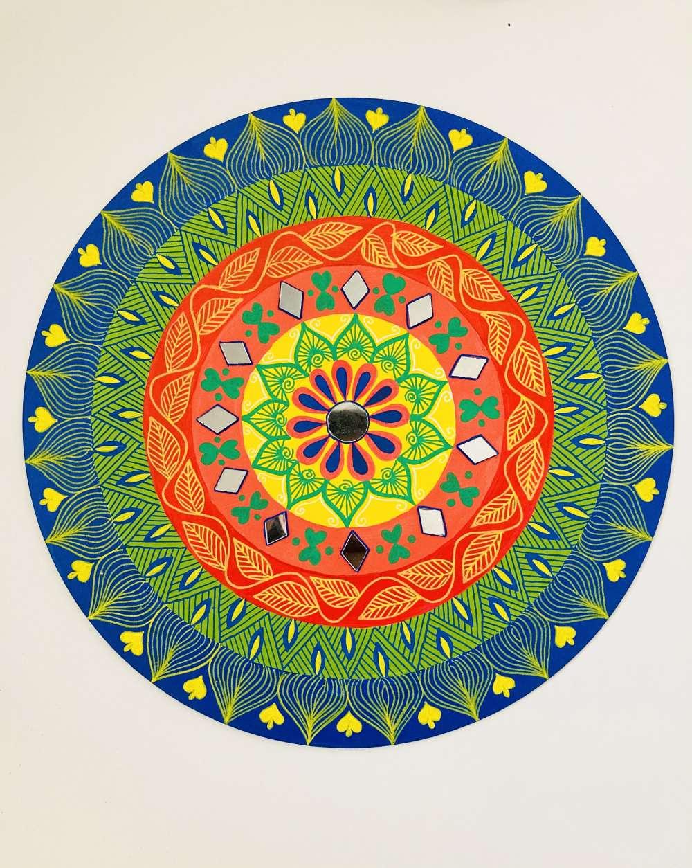 Rainbow mandala wall art