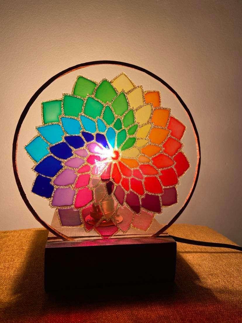 Rainbow mandala lamp