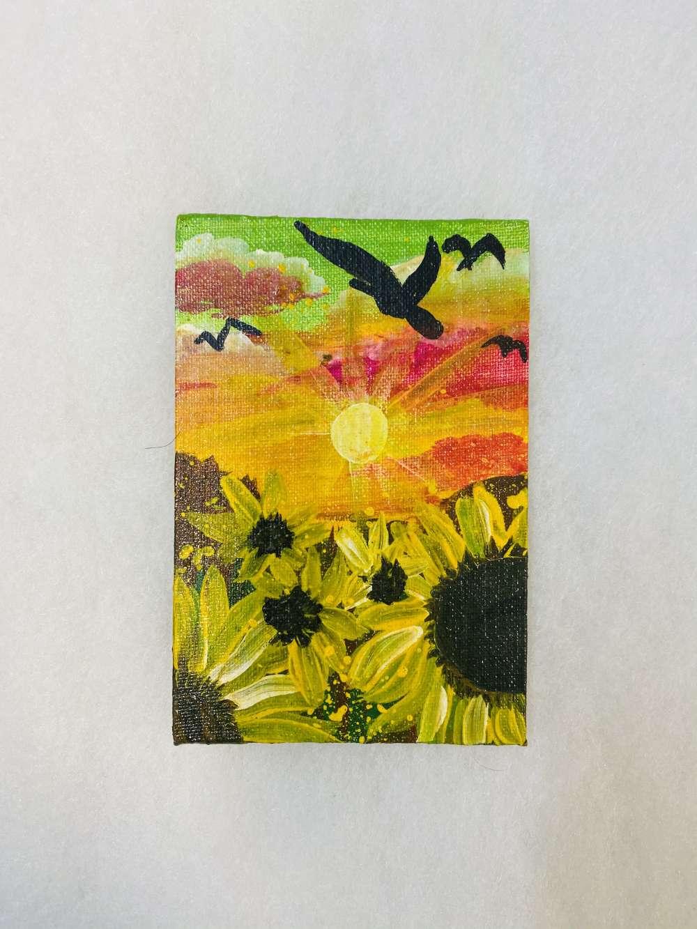 Sunflower mini canvas painting