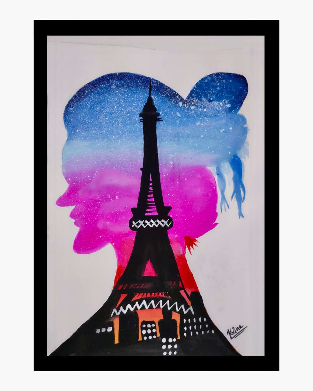 Lady with paris view art