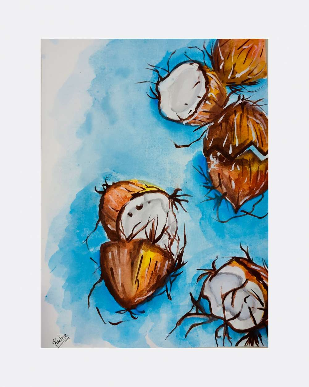 Coconut watercolour painting