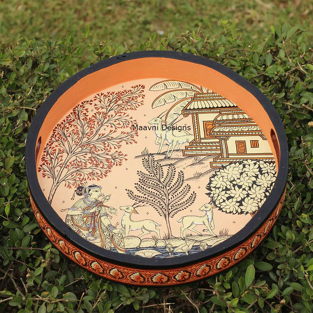 Handpainted Circular Wood Tray Tree of Life 12 Inches
