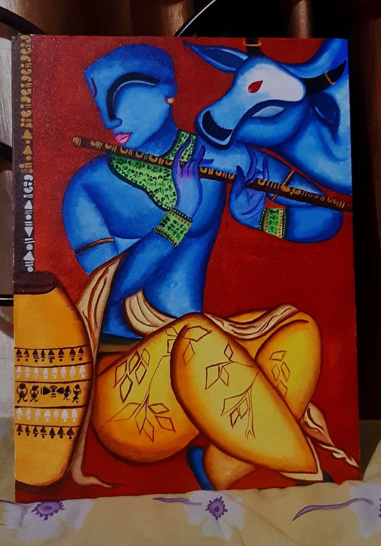 Krishna Playing lute