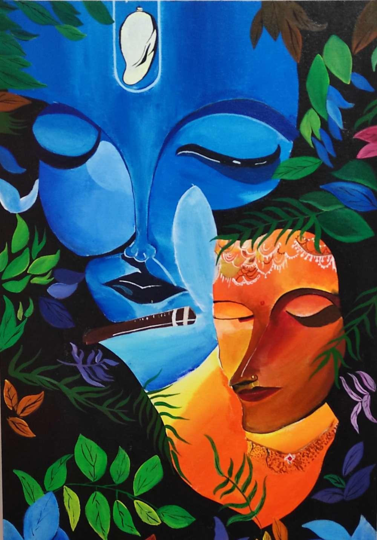 Radha krishan modern acrylic painting