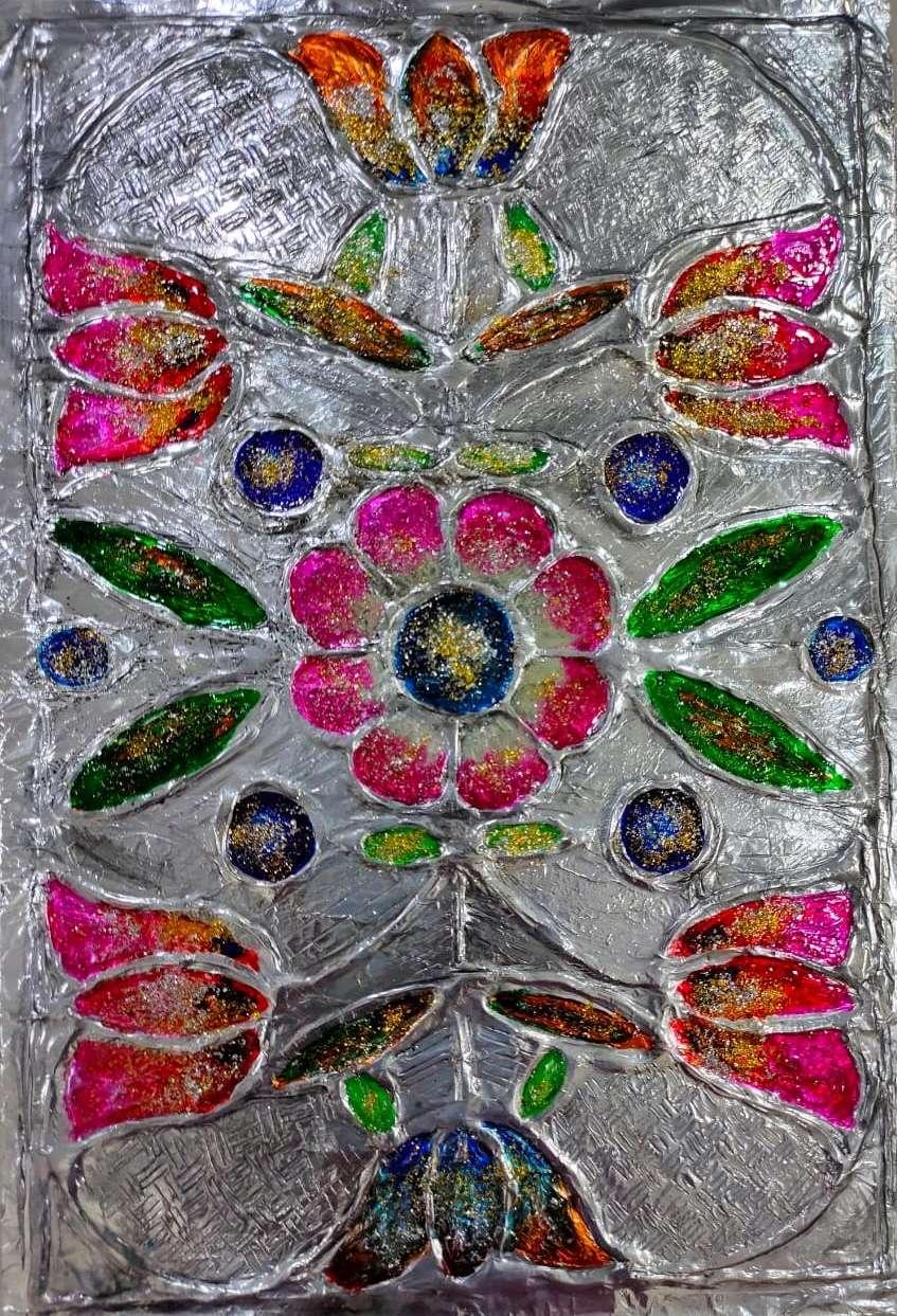 Flower tin foil emboss painting