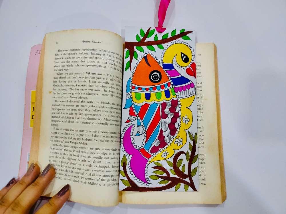 Fish and peacock Madhubani bookmark
