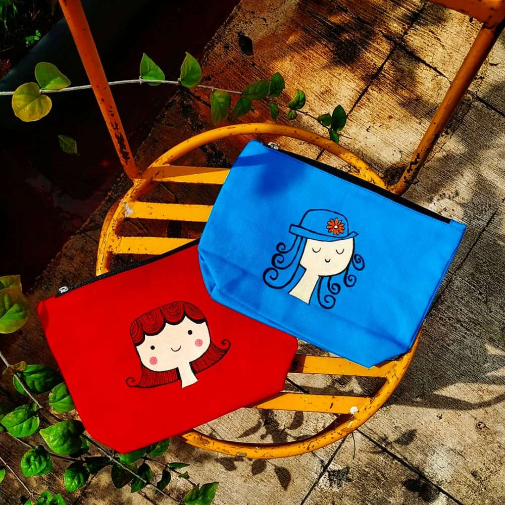Hand painted Face art on pouch
