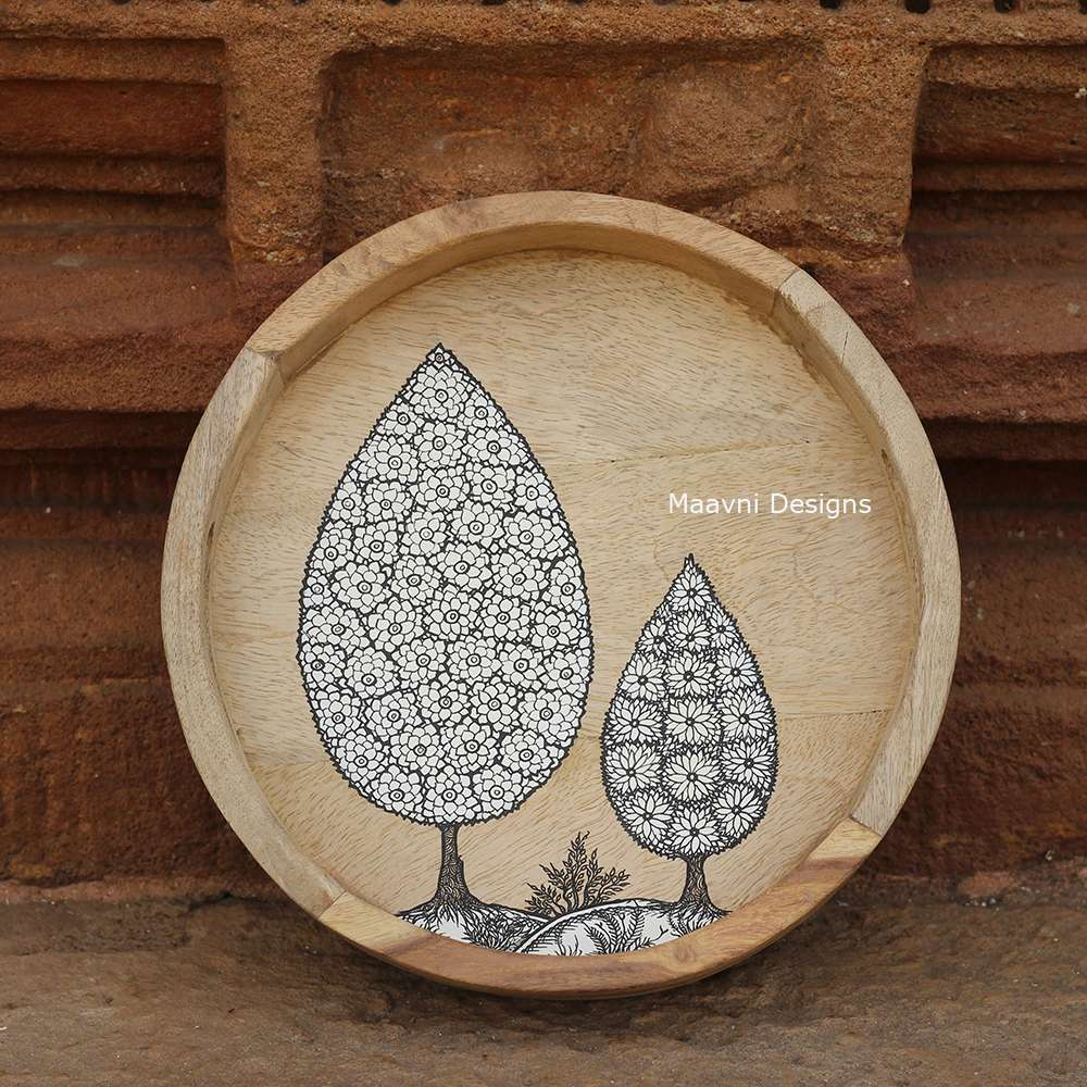 Handpainted Circular Wood Tray Tree of Life 10 Inches