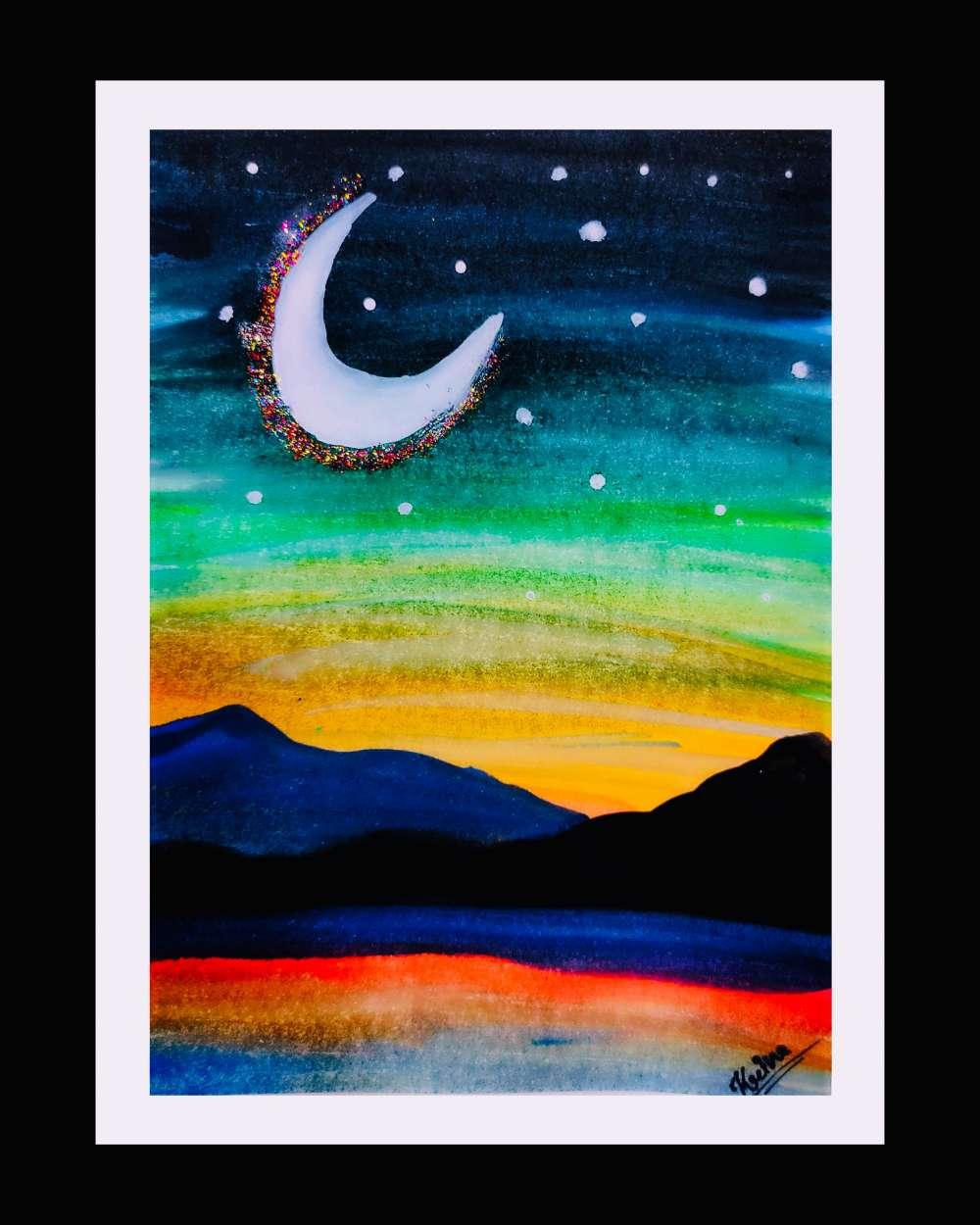 Night watercolour painting