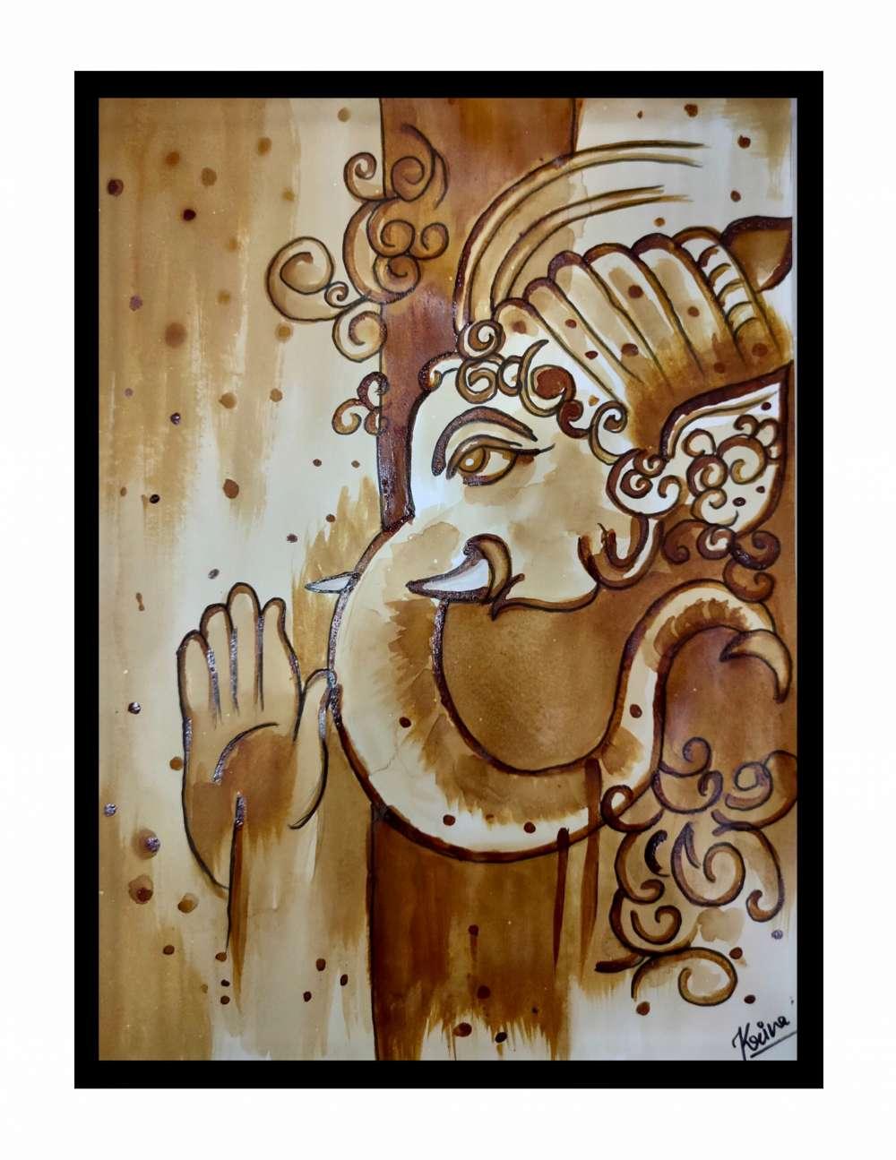 Ganpati coffee painting