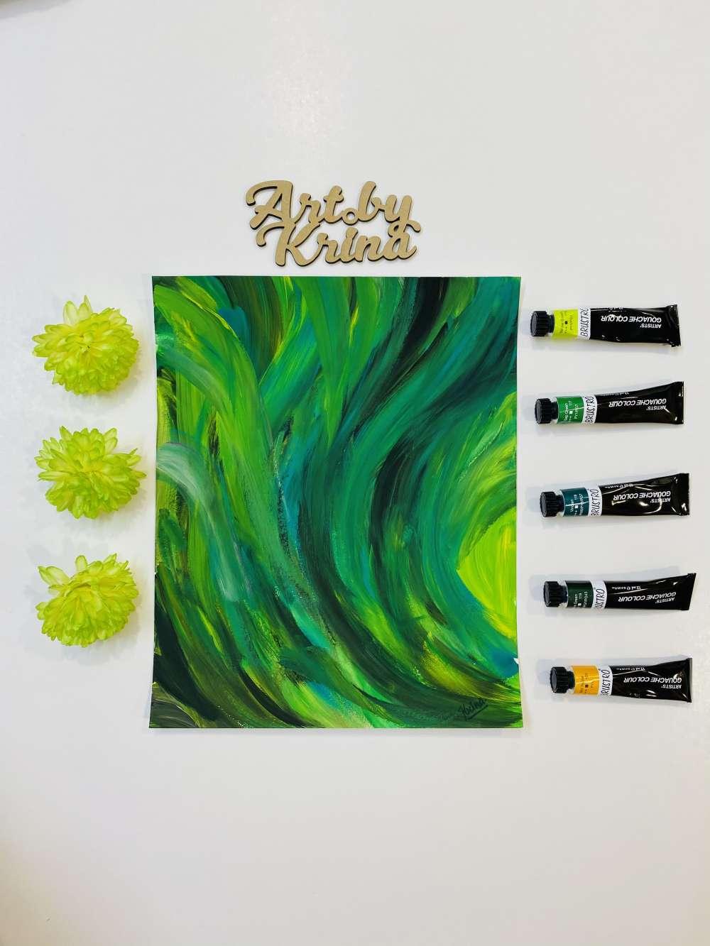 Green gouache painting