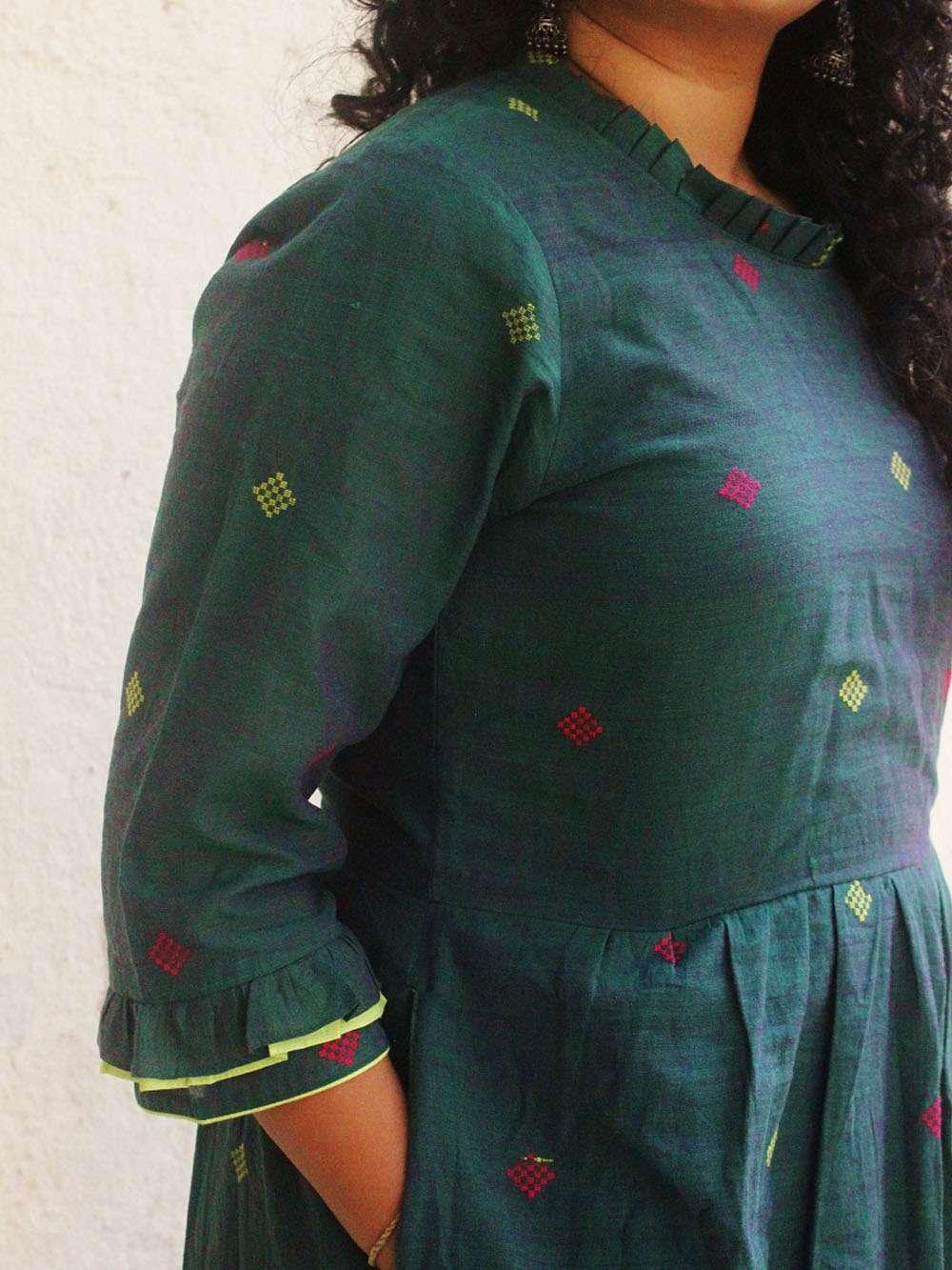 Handloom Cotton Square motif maxi dress