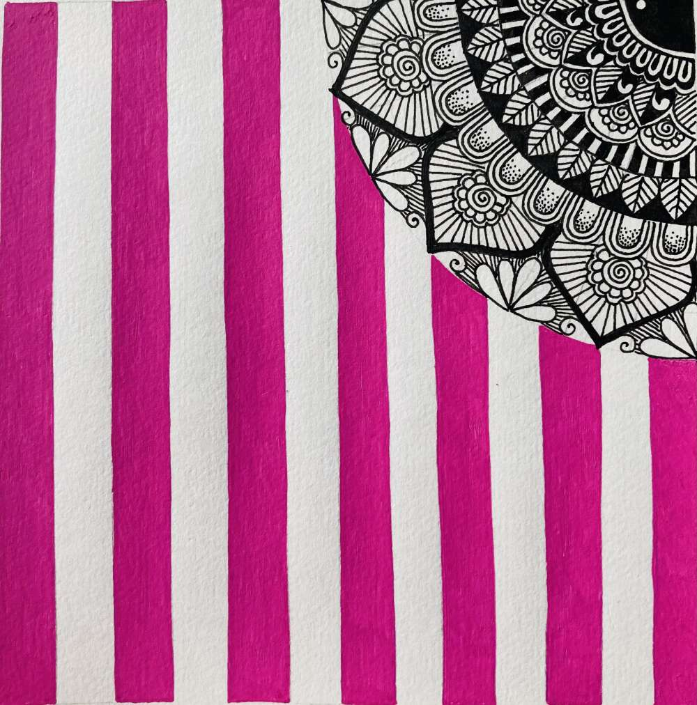 Striped mandala art print